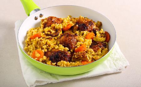 Udka z kaszą bulgur i warzywami  - proste danie z nutą Orientu